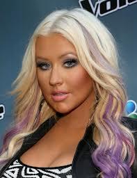 Christina Aguilera dip dye purple hair