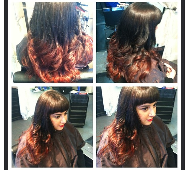 red ombre with bangs