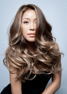 smoked ash ombre on asian hair