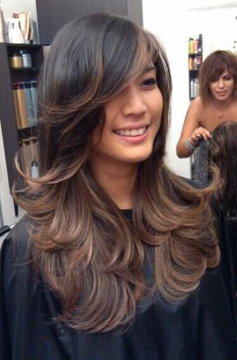 smokey pearl ombre on asian hair