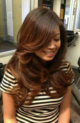 soft ombre hair on asian hair