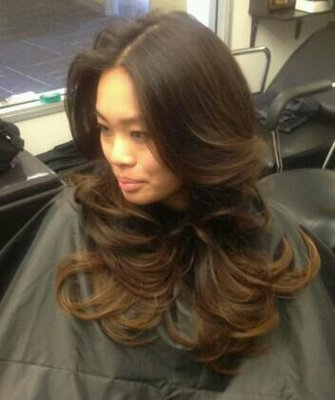 subtle caramel brown ombre on asian hair