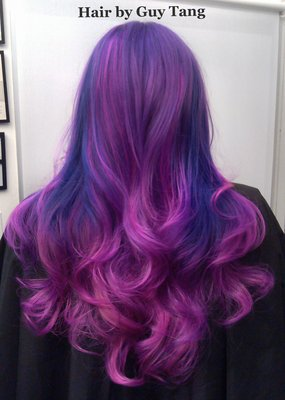 quad tone ombre fusion of deep royal purple