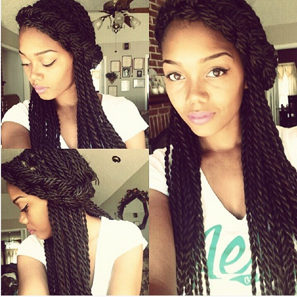 crown braid senegalese twist hairstyle ombrehair org