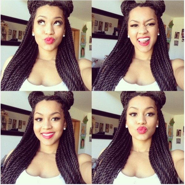 double top knot half up senegalese twist cute hairstyle ombrehair org