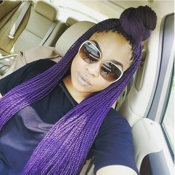 purple half top knot bun senegalese twist hair bmodish