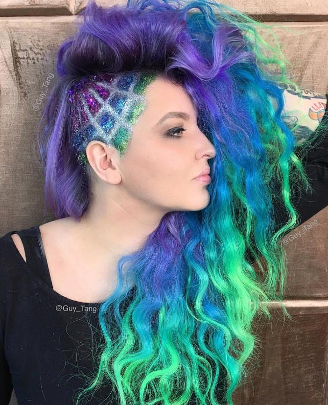 awesome glitter undercut colormelt hair