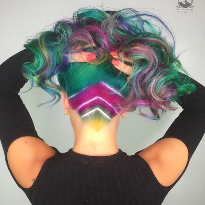 colorful undercut hair ombrehair