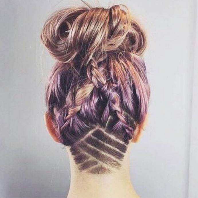 double braid bun and undercut