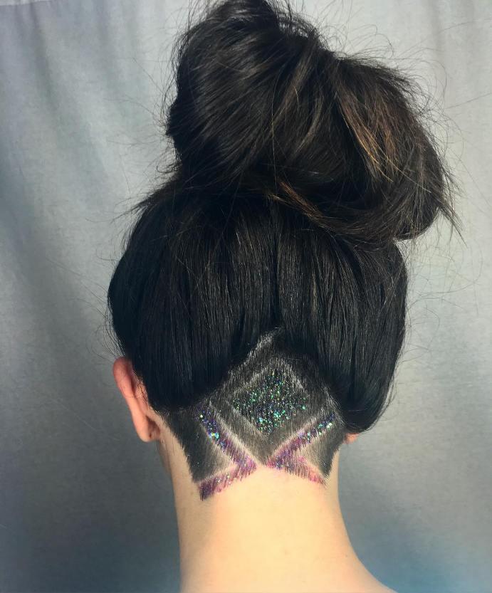 glitter undercut hair ombrehair