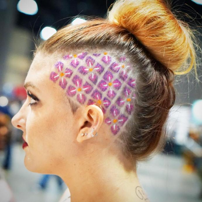 hawaiian flower undercut hair tattoo