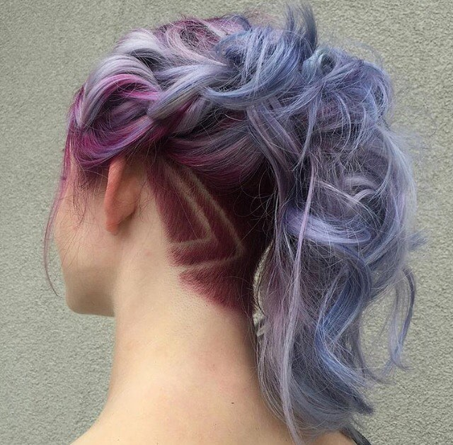 pastel braid hair with undercut ombrehair