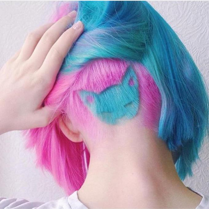 pastel kitty undercut hair design