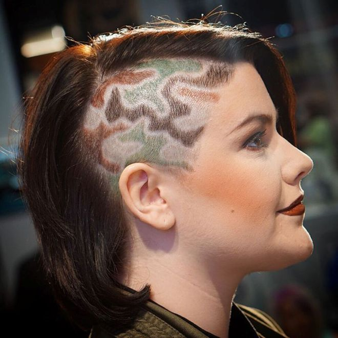 undercut hair camo design