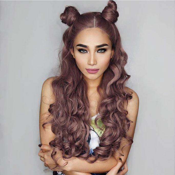 grey two buns hairstyle