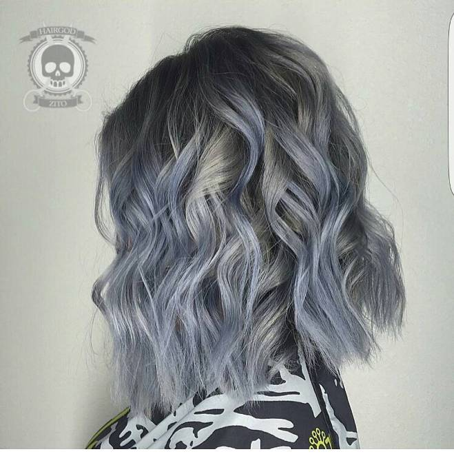 ash grey curly lob haircut