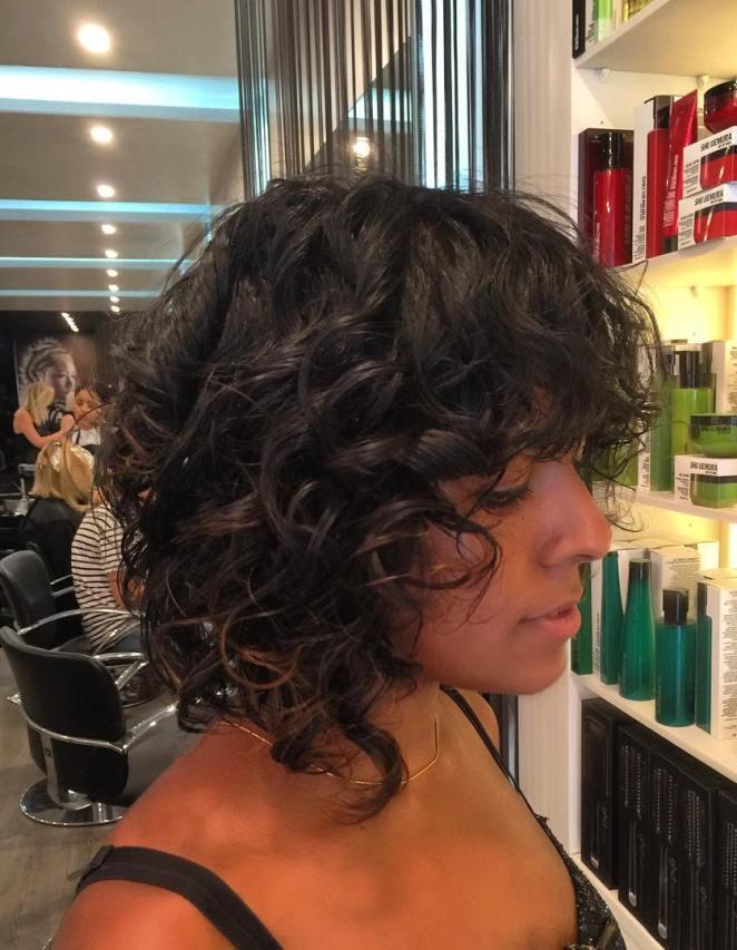 black curly lob hair