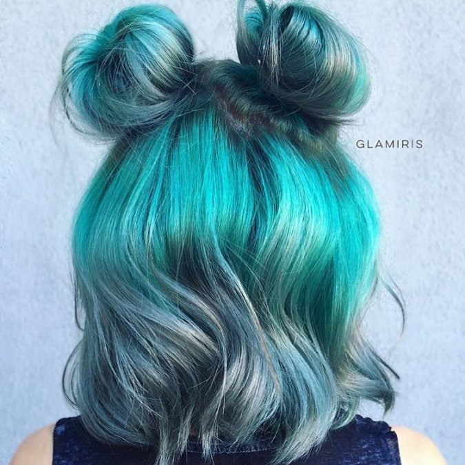 blue short hair with double buns