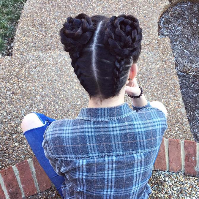 rose braided double buns hair