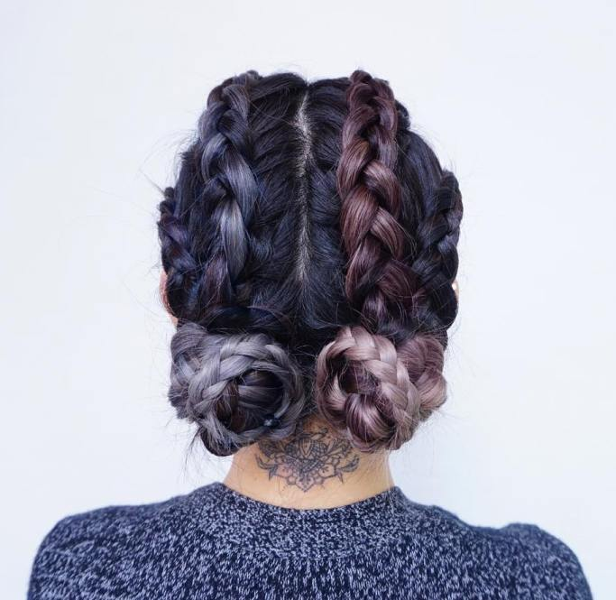 braided twin buns hairstyle