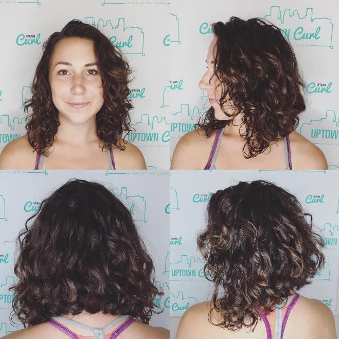 brown curly lob hair cut