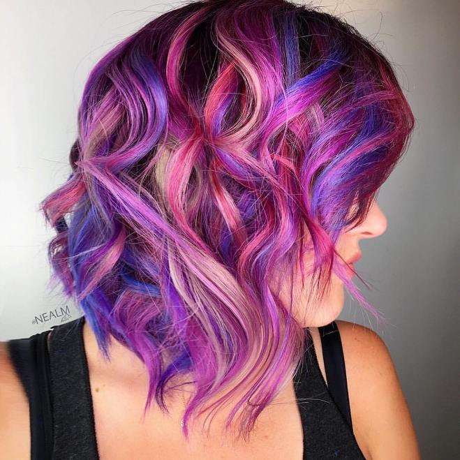 colorful curly lob cut
