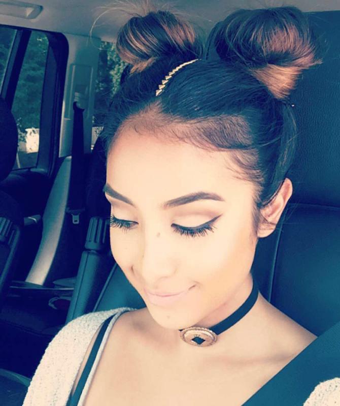 cute boho double buns hair