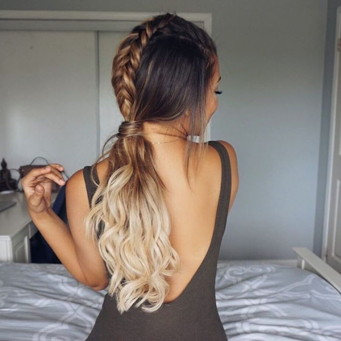 cute braid into ponytail