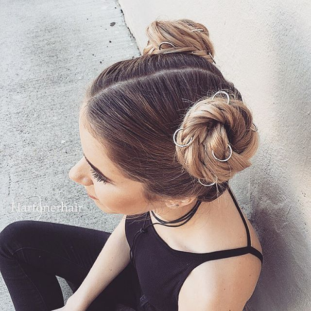 cute double buns hairstyle