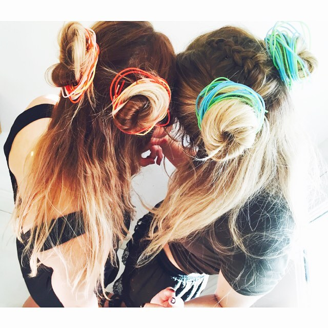 cute twin buns hairstyle