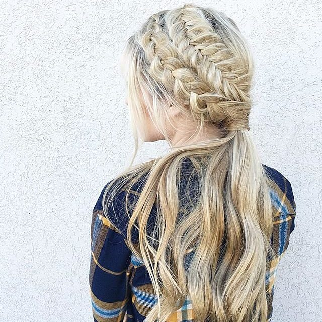 double side braid into low ponytail