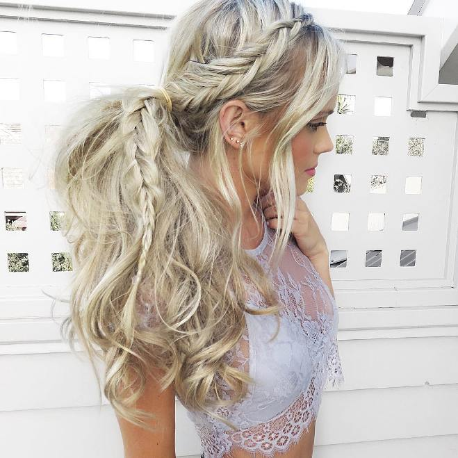 dutch fishtail braid into a ponytail blonde hair
