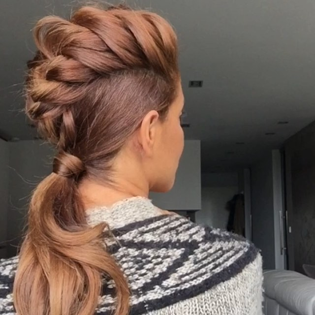 faux mohawk braid into ponytail