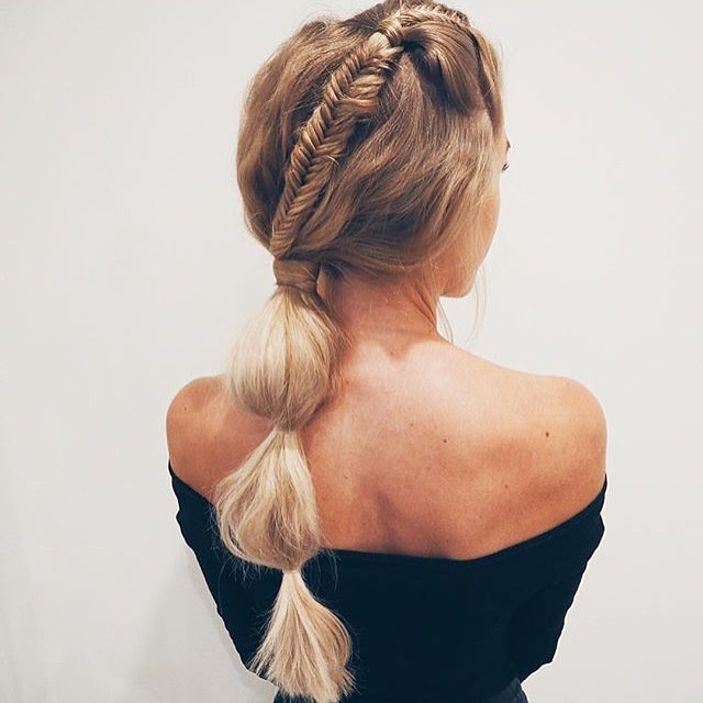 fishtail braid into buble ponytail