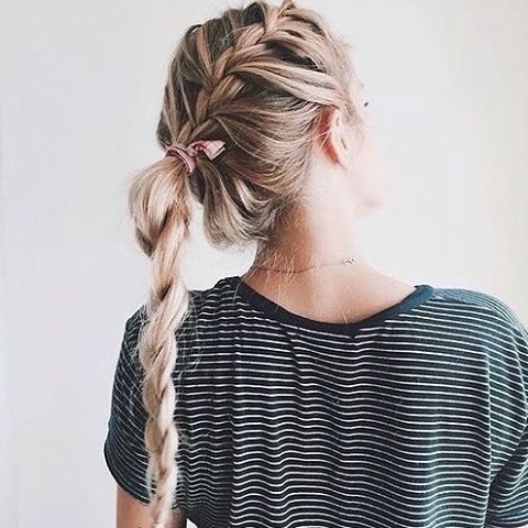 french braid into twist braid ponytail hair