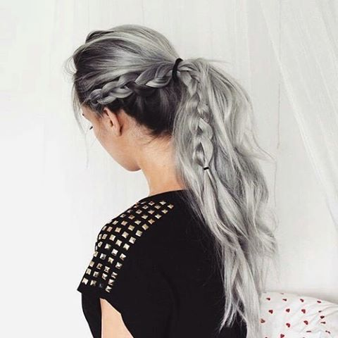 grey side braid into ponytail hair