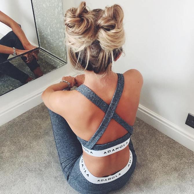 workout two buns hair