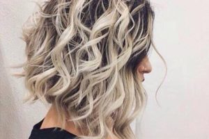 pretty curly lob hair