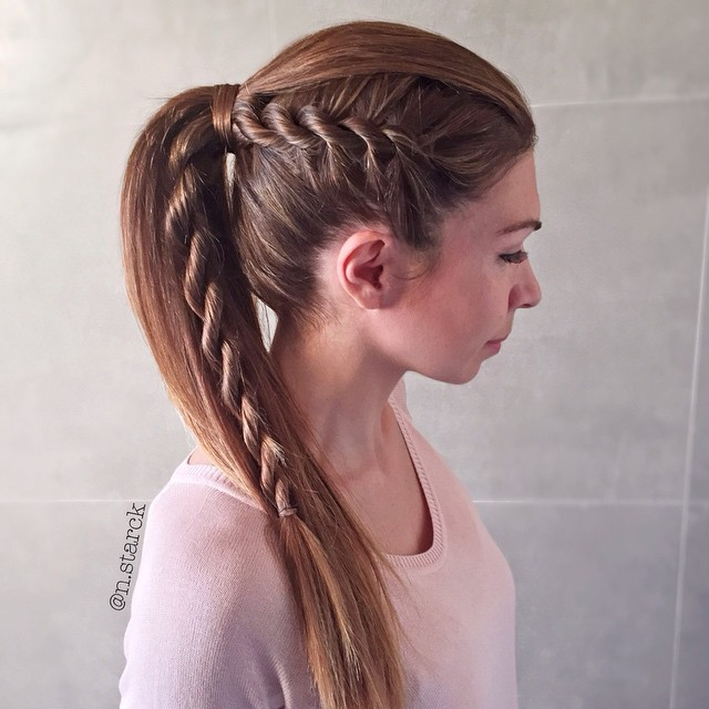 side twist braid into ponytail