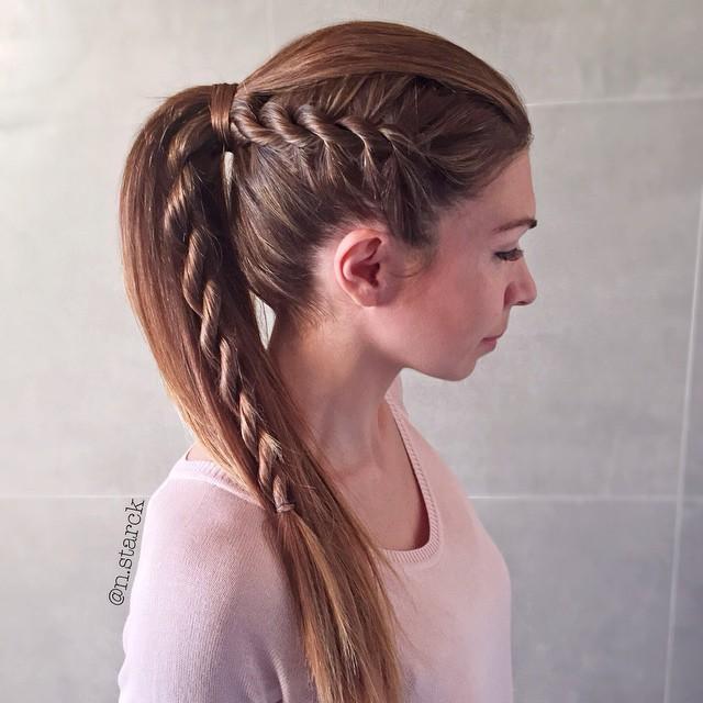 side twist braid into ponytail