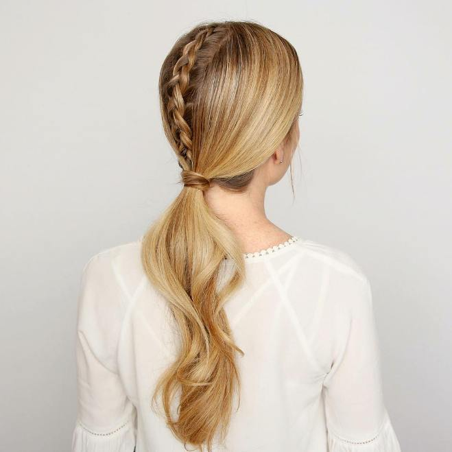 simple braid into low ponytail hairstyle
