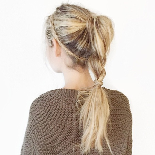 simple cute braid into ponytail
