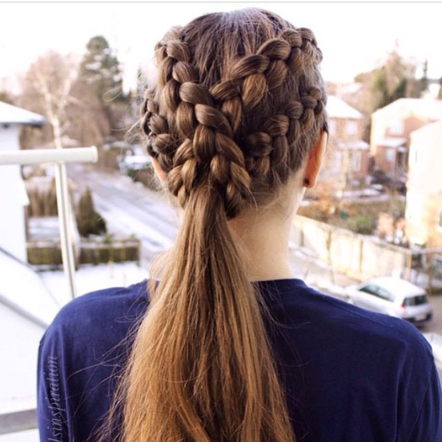 sling braid into ponytail hairstyle
