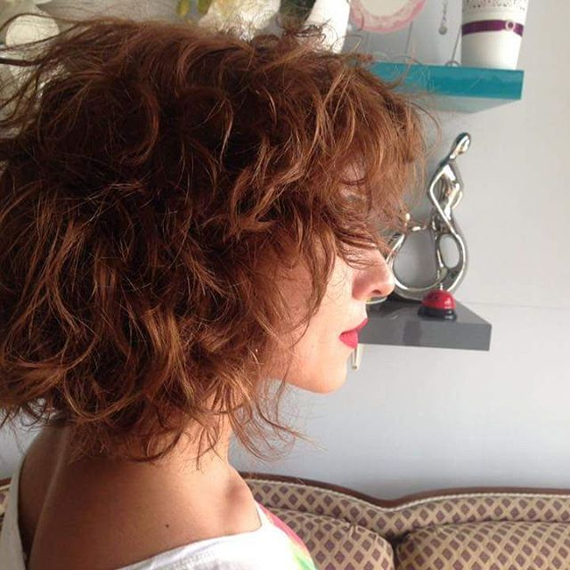 summer curly textured bob cut hair