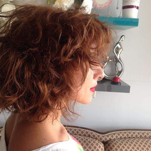 summer curly textured bob cut hair