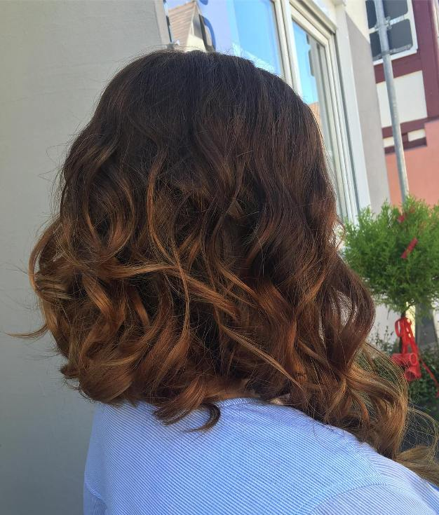textured curly long bob hair cut
