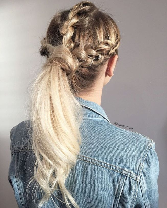 three braids into ponytail