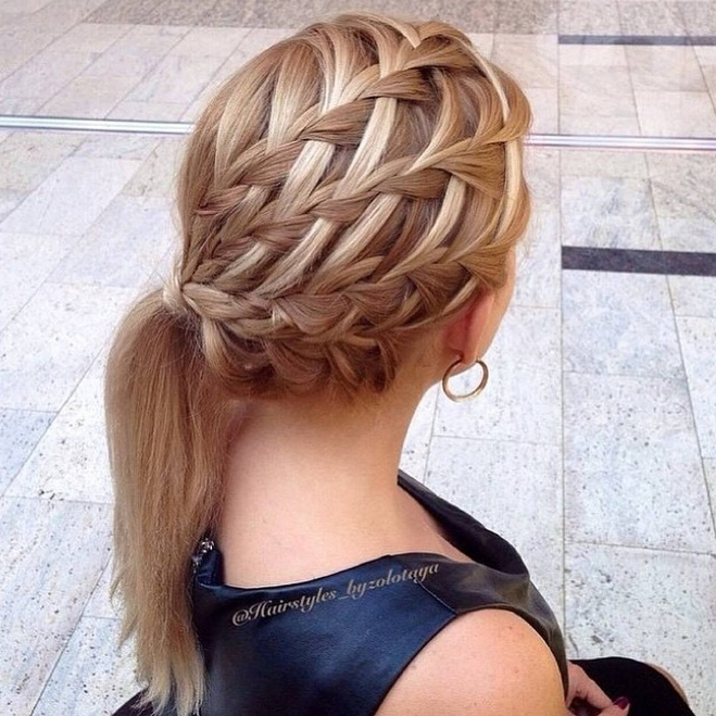 waterfall braid into side ponytail