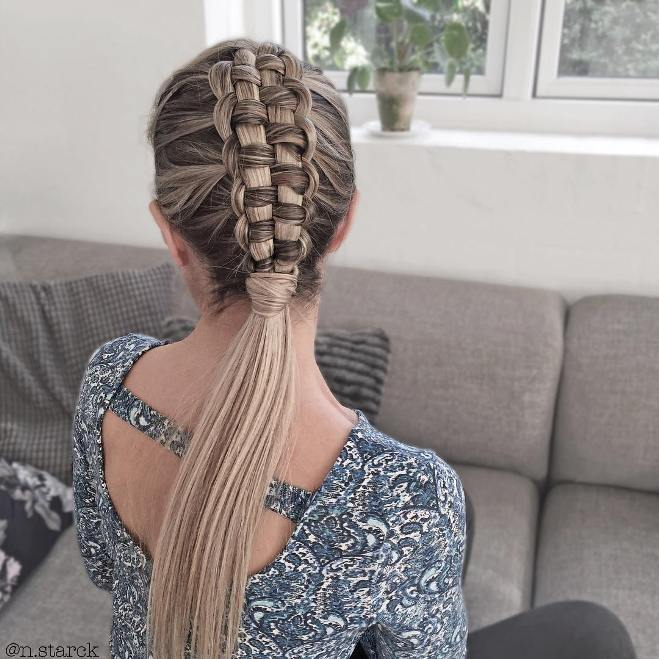 zipper braid into low ponytail