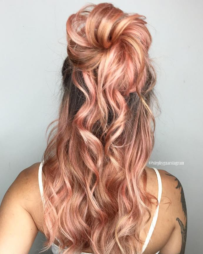 big bun balayage rose gold hairstyle